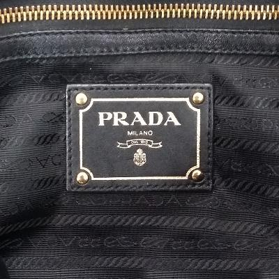 leather shirring bag black